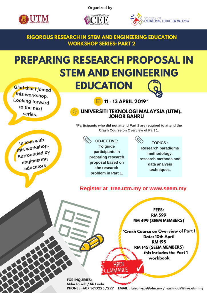 3 Day Workshop On Preparing Research Proposal In Engineering And Stem Education Centre For Engineering Education